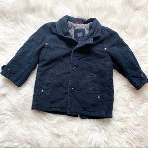 GAP Navy Blue Collared Coat Zipper & Buttons 3T